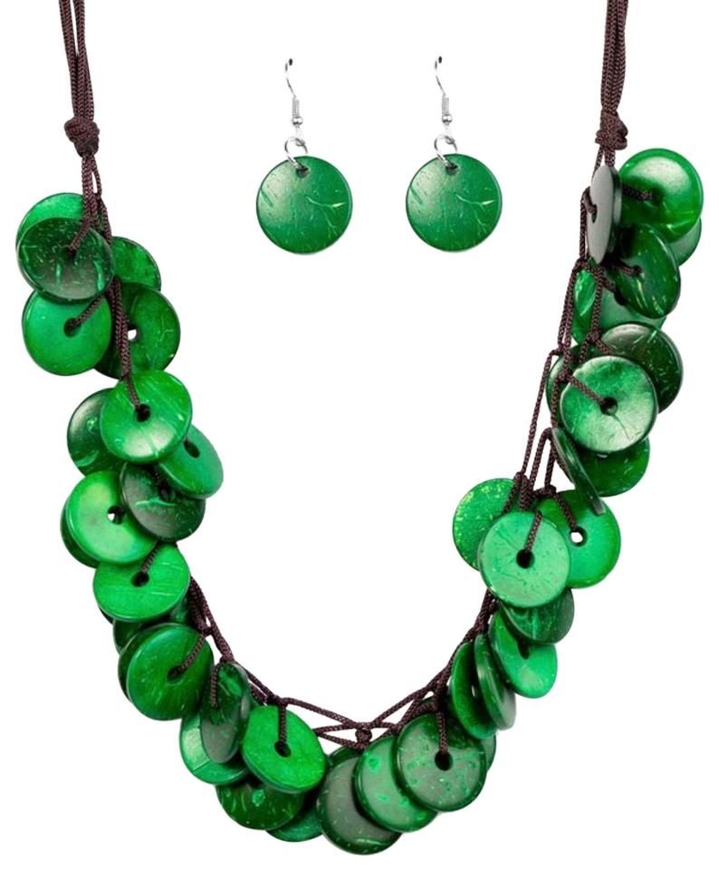 Paparazzi Green Bahama Bliss Earrings Set Necklace
