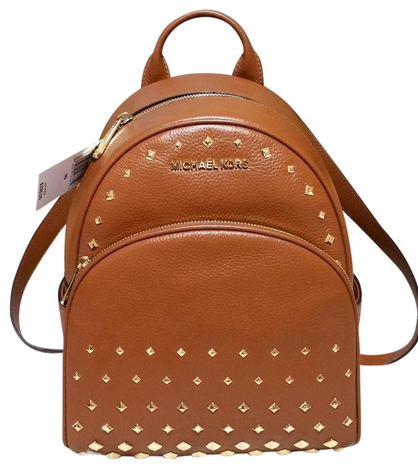 08dc12e909 Michael Kors Abbey Medium Diamond Stud Brown Leather Backpack - Tradesy