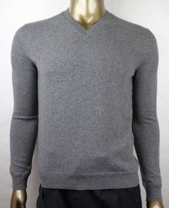 Gucci Gray W Men's Cashmere V-neck Pullover W/Rb Web 2xl 372694 1514 Groomsman Gift