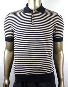 Gucci Blue/Beige Blue/Beige Cotton Cashmere Fine Striped Polo 411737 4861 Shirt