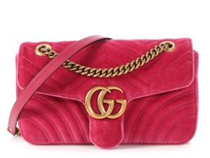 0d1540aef3b Added to Shopping Bag. Gucci Gc.p1009.17 Quilted Brass Gg Shoulder Bag. Gucci  Marmont   sold  marmont Small Matelasse Pink Velvet ...