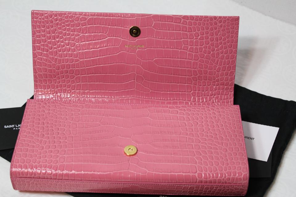 Saint Laurent Monogram Kate Ysl Croc Embossed Pink Leather
