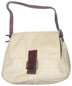 Fendi 'mamma Zucco' Style Tan/Brown Chrome Hardware Mint Condition Satchel in large F logo print canvas in shades of tan and brown leather