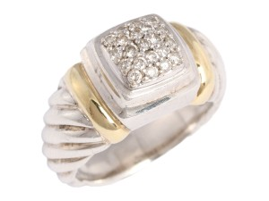 David Yurman SILVER AND 18K GOLD PAVE DIAMOND NOBLESSE RING