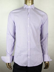 Gucci Lilac Men's Cotton Fine Stripe Slim Fit 44/17.5 307649 5310 Shirt