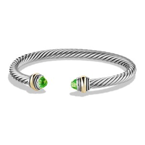 David Yurman Cable Classic Bracelet Green Peridot And 14k Yellow Gold