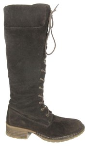 Sundance Knee High Lace Up Brown Boots