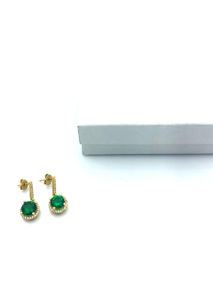 e4eddfb09 196) Yellow Gold 14k Hanging Green Stone Stud Earrings - Tradesy