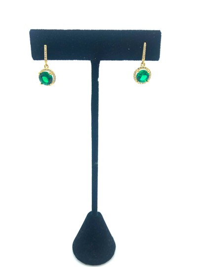 Other 14k gold hanging green stone stud earring Image 1
