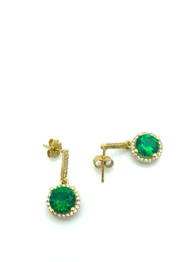 Other 14k gold hanging green stone stud earring Image 2