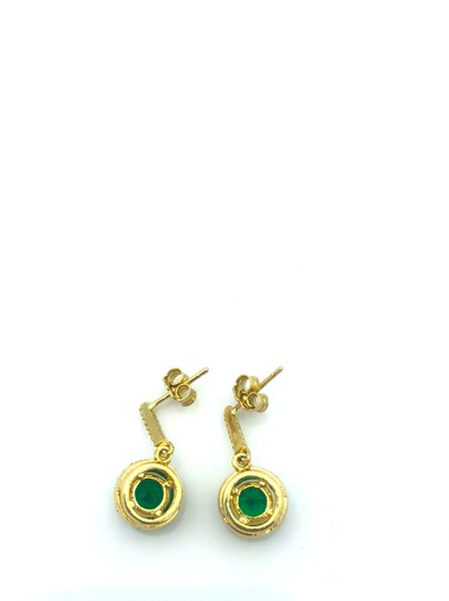 Other 14k gold hanging green stone stud earring Image 3