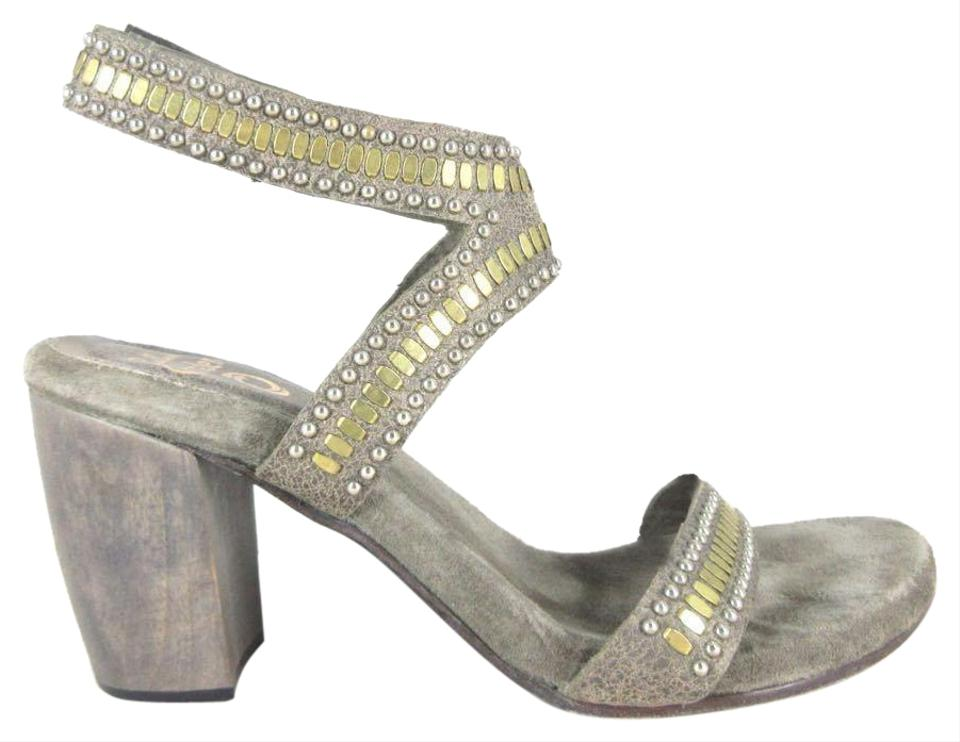 e7a2b73ab Calleen Cordero Gray Leather Gold Embellished Strappy Sandals Size ...