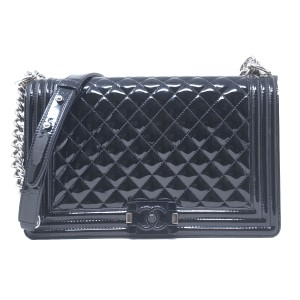 bc657e8d39 Chanel Jumbo Patent Leather Le Boy Shoulder Bag