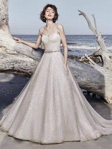 Sottero and Midgley Champagne Shimmer/Rose Gold Accent Vidette Modern Wedding Dress Size 10 (M)