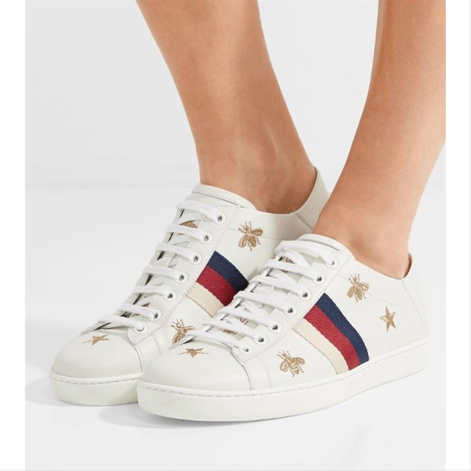 3a064ddc3bf Gucci Ace Embroidered Leather Collapsible Heel Sneakers Sneakers ...