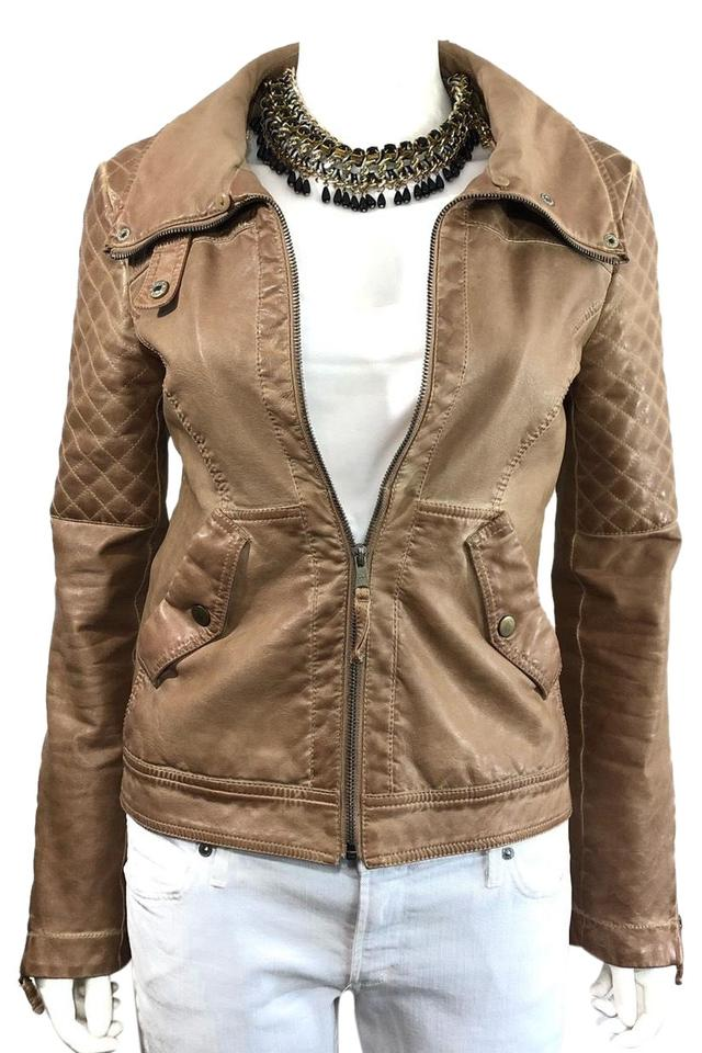 756d1624 Zara Tan Trafaluc Collection • Vegan Faux Leather Quilted Moto Jacket