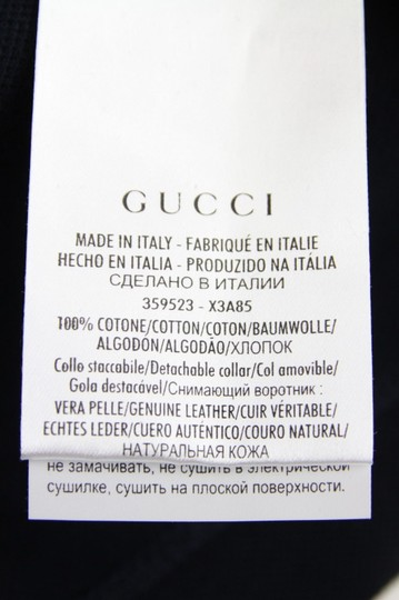 Gucci Ink Blue W Cotton Polo W/Detachable Leather Collar 2xl 359523 4185 Shirt Image 5