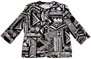 Alfred Dunner Tribal Button-up Collared Black, White Jacket