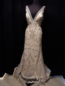 Maggie Sottero Champagne/ Silver and Gold Accents Beads Over Mesh Gianna Modern Wedding Dress Size 6 (S)