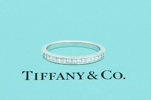 Tiffany & Co. F Vs Co Princess Cut Diamond Ring Platinum 2.6mm Women's Wedding Band