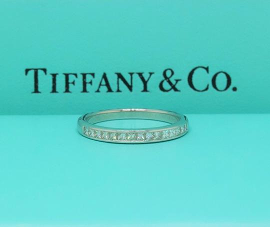 Tiffany & Co. F Vs Co Princess Cut Diamond Ring Platinum 2.6mm Women's Wedding Band Image 1