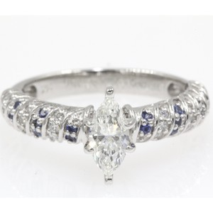 14k White Gold .68 Ct Marquise Shape Rope Design with Sapphire Engagement Ring