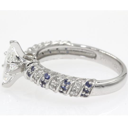 14k White Gold .68 Ct Marquise Shape Rope Design with Sapphire Engagement Ring Image 1