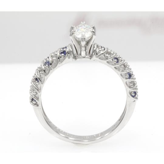 14k White Gold .68 Ct Marquise Shape Rope Design with Sapphire Engagement Ring Image 2