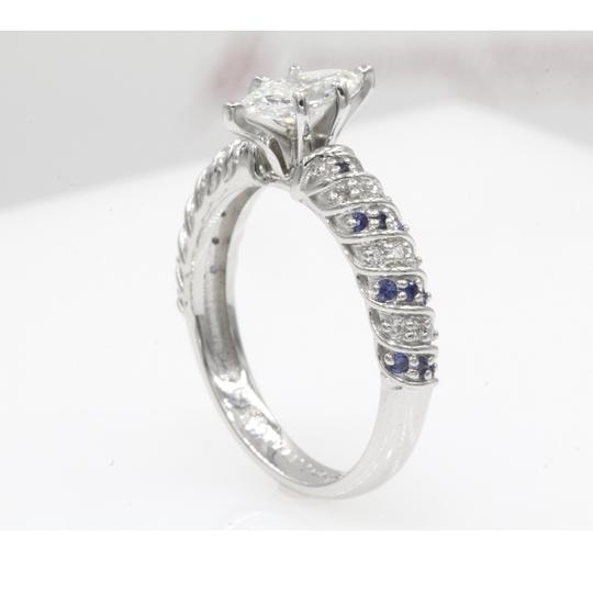 14k White Gold .68 Ct Marquise Shape Rope Design with Sapphire Engagement Ring Image 3
