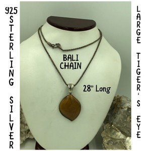 """WK 925 Sterling Silver Large Tiger's Eye Pendant & Bali Chain Necklace 28"""" Long"""