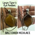 WK 925 Sterling Silver Large Tiger's Eye Pendant & Bali Chain Necklace 28
