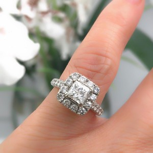 H Si2 Diamond Princess Halo 2.00 Tcw In 14k White Gold Engagement Ring
