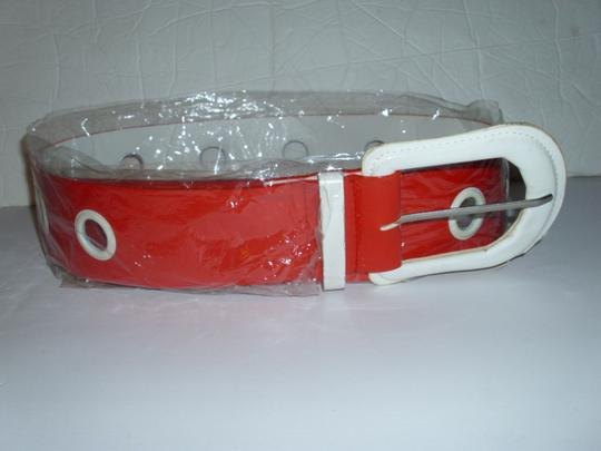 unbranded Huge white buckle bright red americana belt 1 size thick chunky Image 1