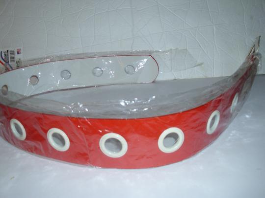 unbranded Huge white buckle bright red americana belt 1 size thick chunky Image 2