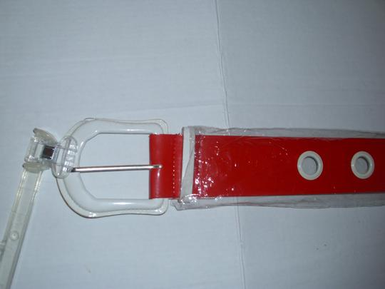 unbranded Huge white buckle bright red americana belt 1 size thick chunky Image 3