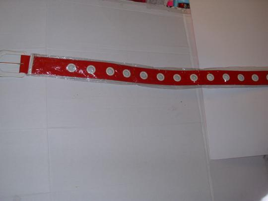 unbranded Huge white buckle bright red americana belt 1 size thick chunky Image 4