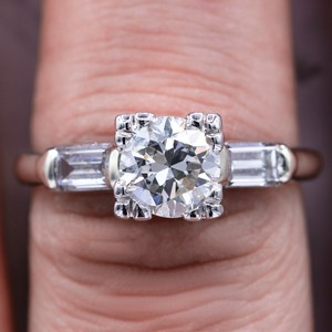Certified Platinum Antique 1.21tcw Round Cut Diamond Ring