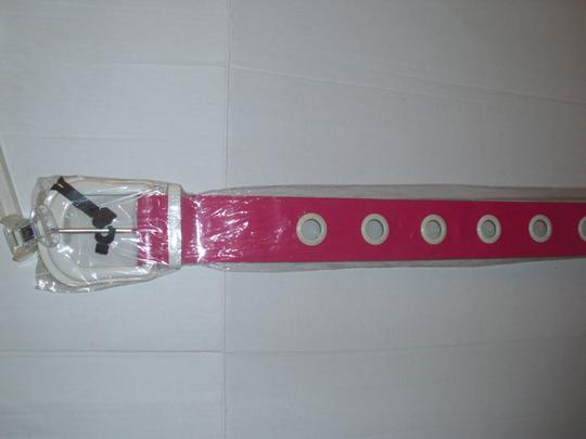 unbranded New chunky wide thick hot pink bright white huge buckle belt Image 2
