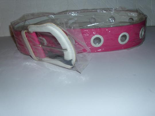 unbranded New chunky wide thick hot pink bright white huge buckle belt Image 5