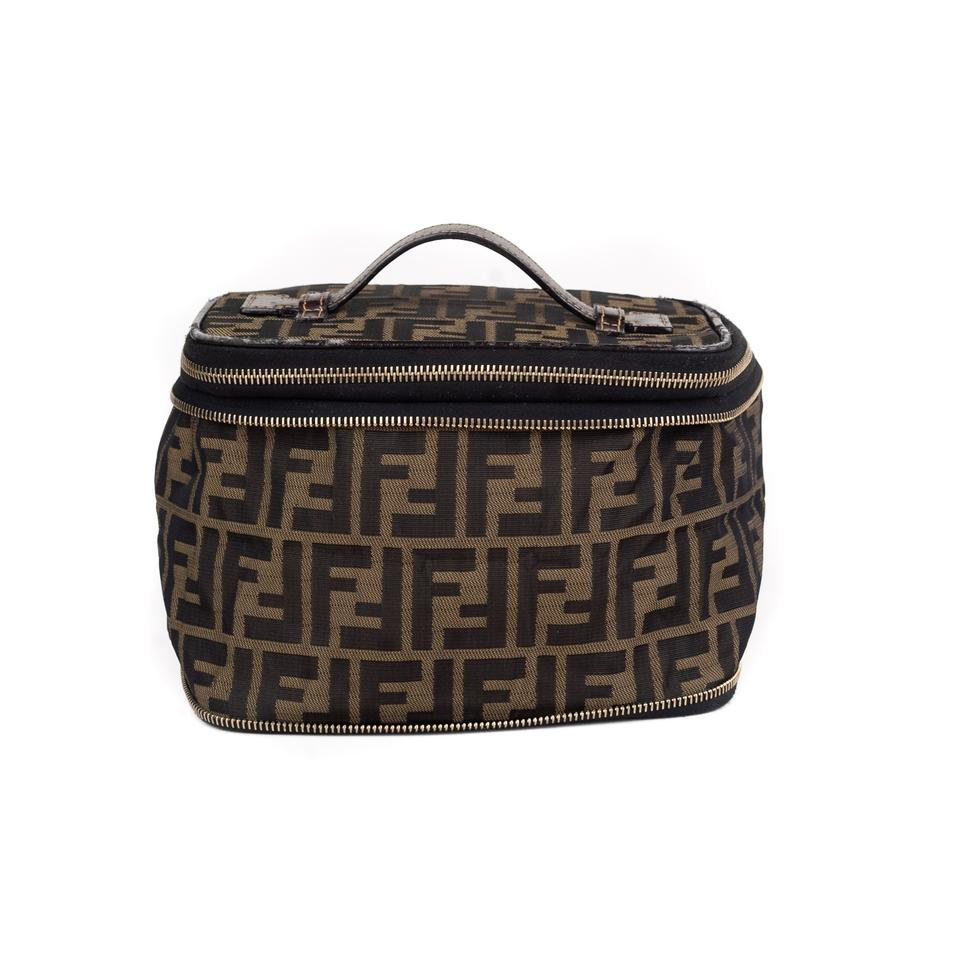 db3c39bf1462 Fendi Brown Zucca Collapsible Vanity Case Cosmetic Bag - Tradesy