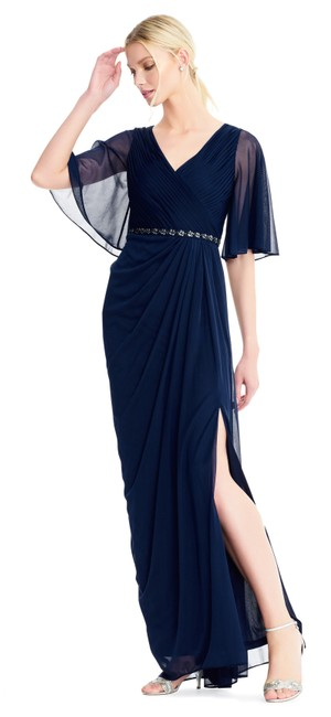 Adrianna Papell Draped Flutter Slit Gown Dress Image 0