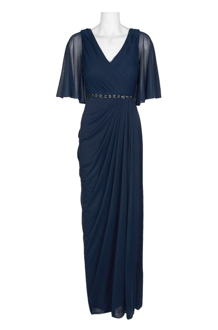 Adrianna Papell Draped Flutter Slit Gown Dress Image 4