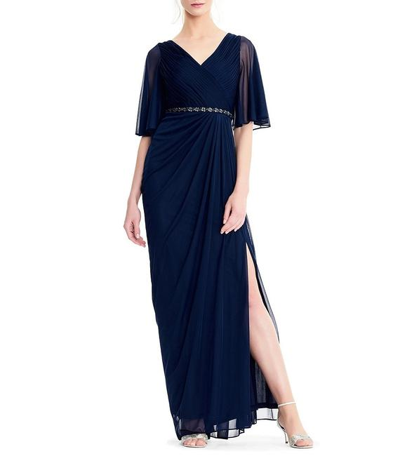 Adrianna Papell Draped Flutter Slit Gown Dress Image 1