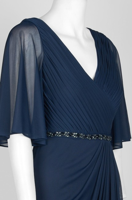 Adrianna Papell Draped Flutter Slit Gown Dress Image 7