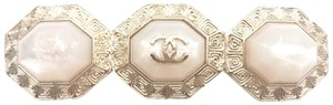 Chanel Chanel Gold CC 3 White Stone Octagon Long Brooch