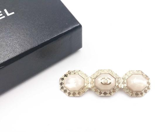 Chanel Chanel Gold CC 3 White Stone Octagon Long Brooch Image 1