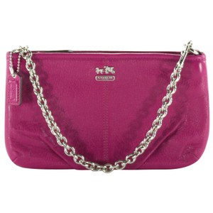 Coach Accessories Leather Wristlet in Magenta