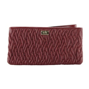 Coach Twisted Leather Wristlet in Brick Red