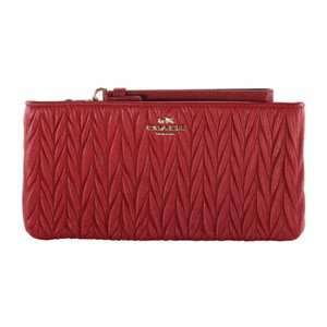 Coach Gathered Leather Leather Accessories Wristlet in Red