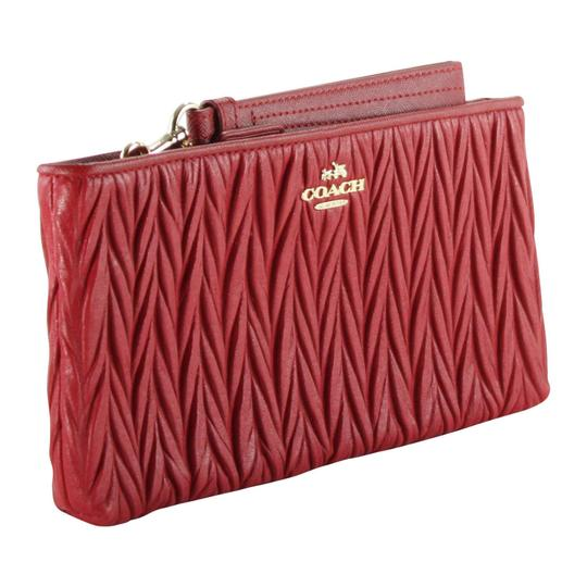 Coach Gathered Leather Leather Accessories Wristlet in Red Image 1